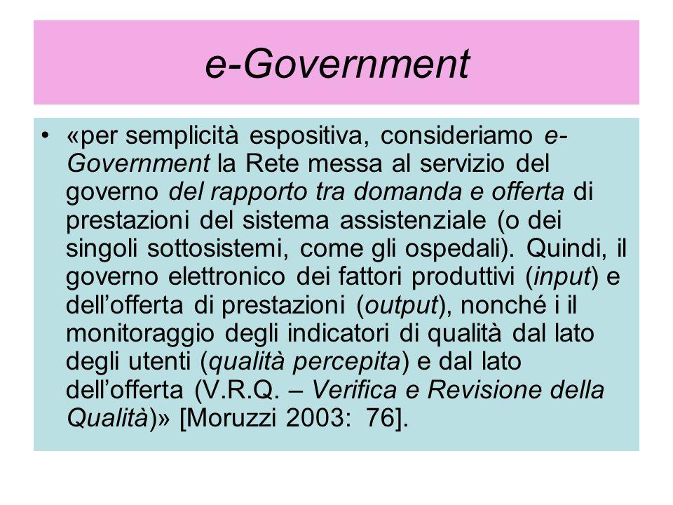 e-Government «per semplicità espositiva, consideriamo e- Government la Rete messa al servizio del governo del rapporto tra domanda e offerta di presta