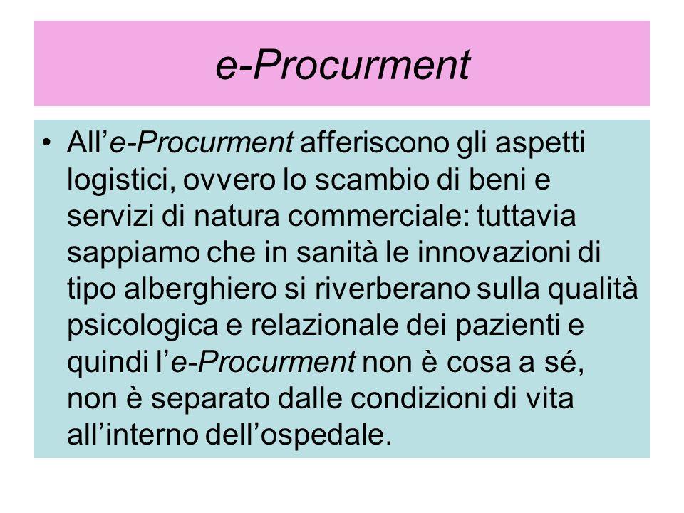 e-Procurment Alle-Procurment afferiscono gli aspetti logistici, ovvero lo scambio di beni e servizi di natura commerciale: tuttavia sappiamo che in sa