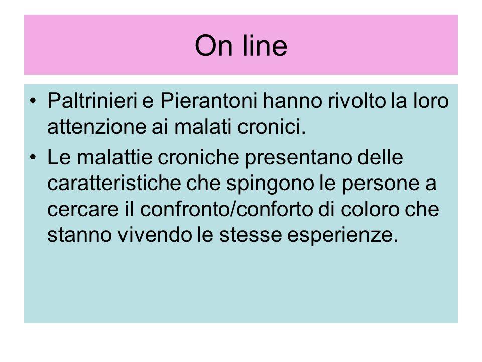 On line Paltrinieri e Pierantoni hanno rivolto la loro attenzione ai malati cronici. Le malattie croniche presentano delle caratteristiche che spingon
