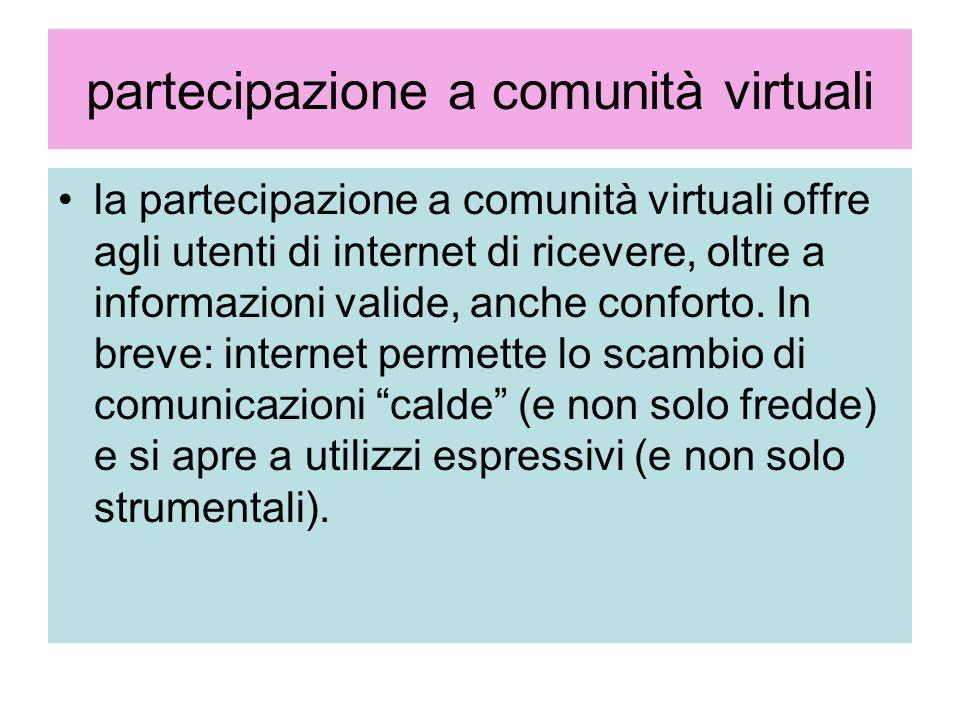 partecipazione a comunità virtuali la partecipazione a comunità virtuali offre agli utenti di internet di ricevere, oltre a informazioni valide, anche
