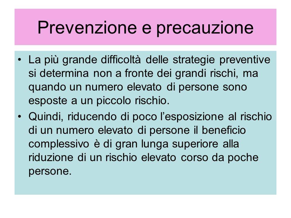 Prevenzione e precauzione La più grande difficoltà delle strategie preventive si determina non a fronte dei grandi rischi, ma quando un numero elevato