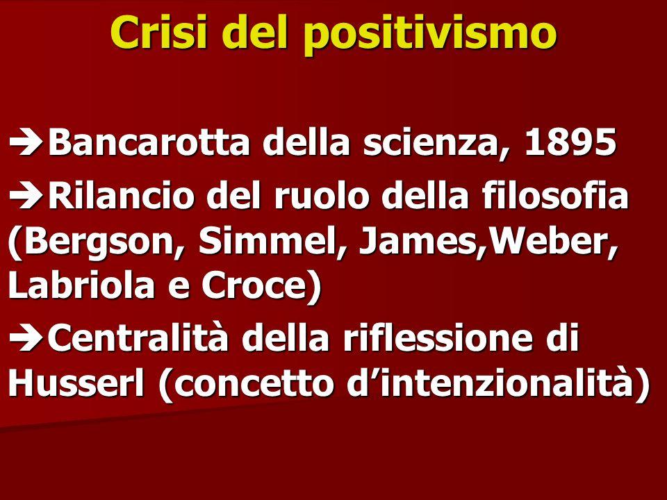 Crisi del positivismo Bancarotta della scienza, 1895 Bancarotta della scienza, 1895 Rilancio del ruolo della filosofia (Bergson, Simmel, James,Weber,