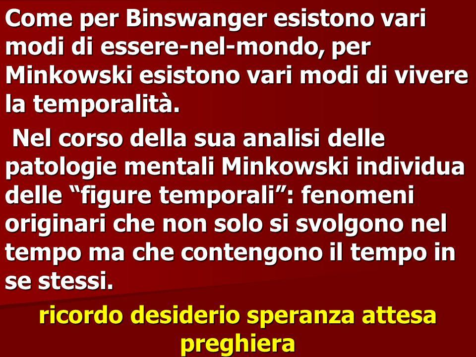 Come per Binswanger esistono vari modi di essere-nel-mondo, per Minkowski esistono vari modi di vivere la temporalità. Nel corso della sua analisi del