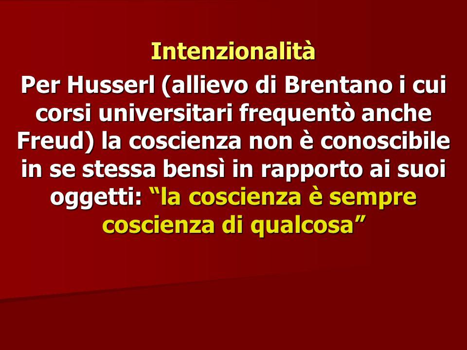 Intenzionalità Per Husserl (allievo di Brentano i cui corsi universitari frequentò anche Freud) la coscienza non è conoscibile in se stessa bensì in r