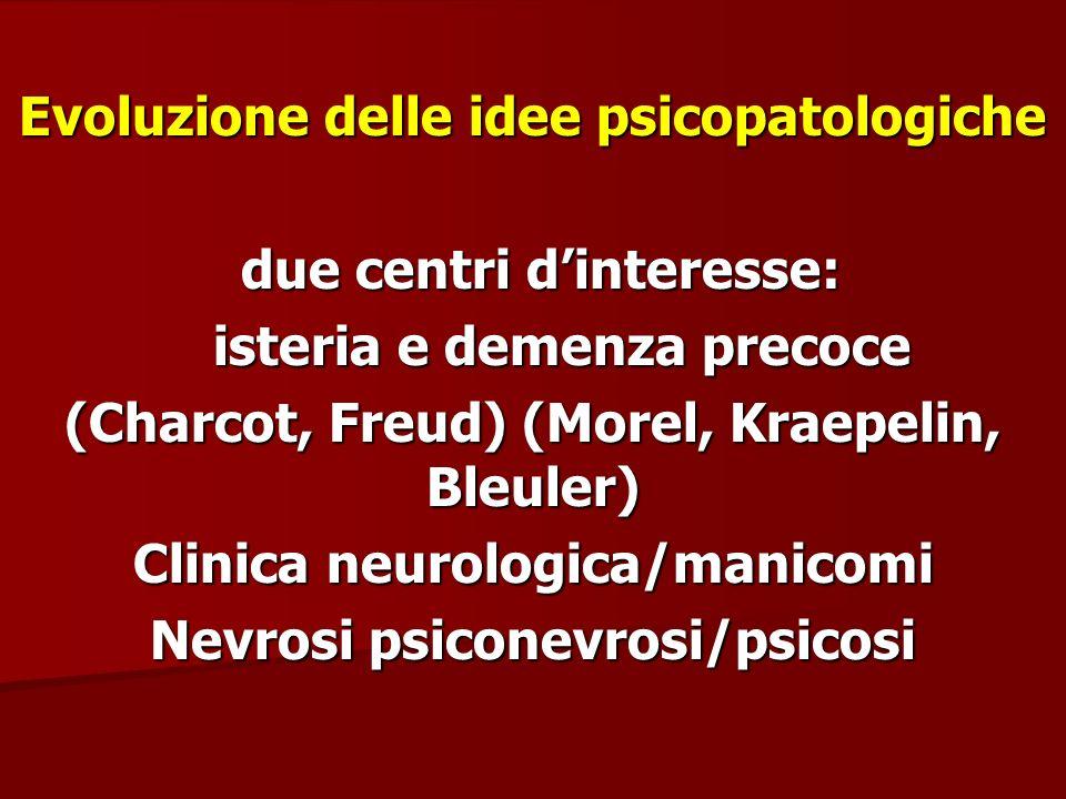 Evoluzione delle idee psicopatologiche due centri dinteresse: due centri dinteresse: isteria e demenza precoce isteria e demenza precoce (Charcot, Fre