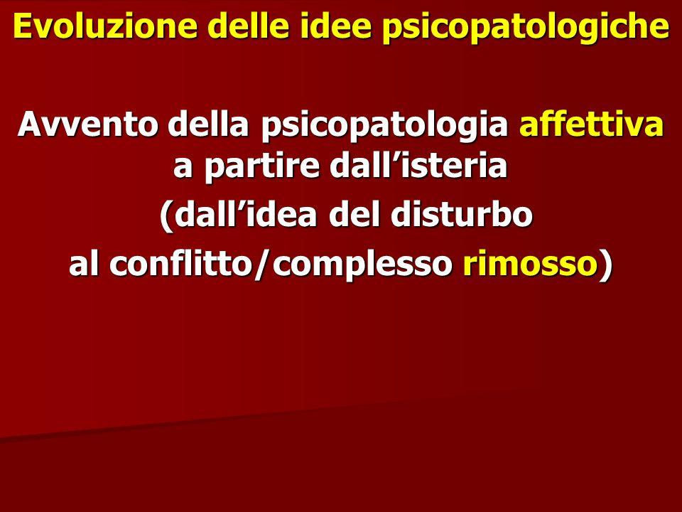 Evoluzione delle idee psicopatologiche Avvento della psicopatologia affettiva a partire dallisteria (dallidea del disturbo (dallidea del disturbo al c