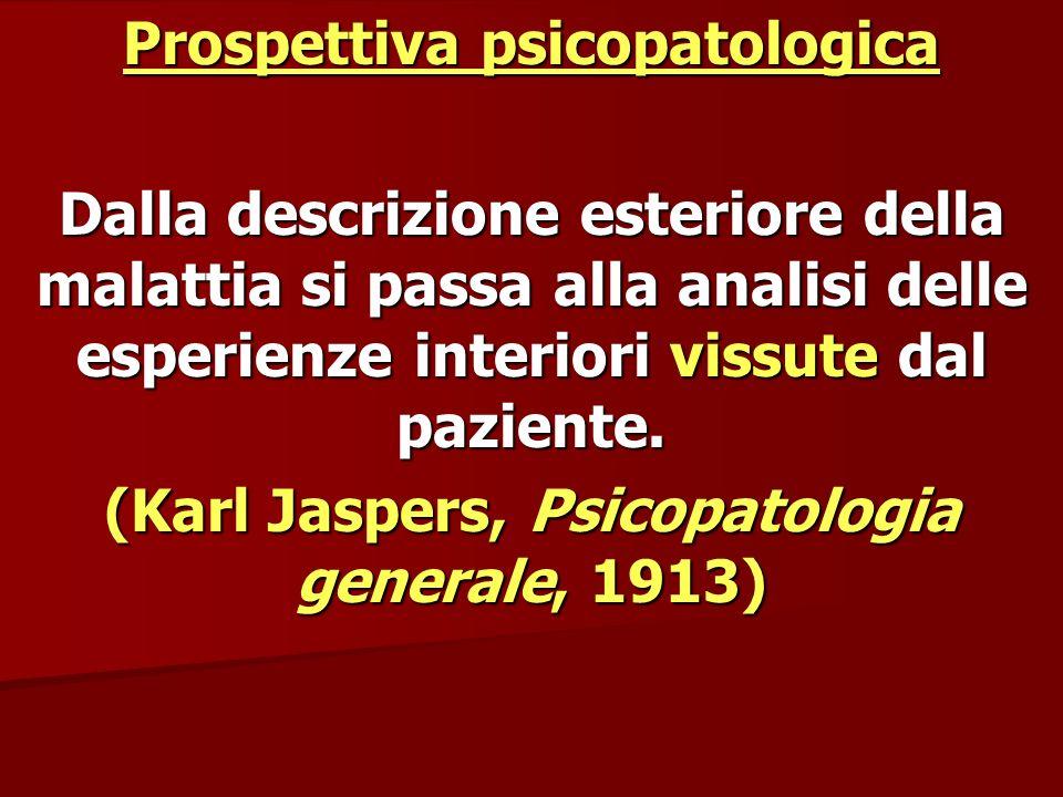 Prospettiva psicopatologica Dalla descrizione esteriore della malattia si passa alla analisi delle esperienze interiori vissute dal paziente. (Karl Ja