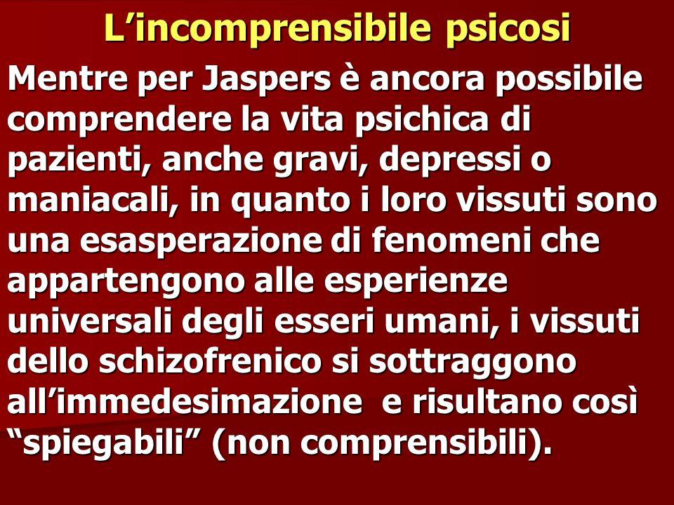 Lincomprensibile psicosi Mentre per Jaspers è ancora possibile comprendere la vita psichica di pazienti, anche gravi, depressi o maniacali, in quanto
