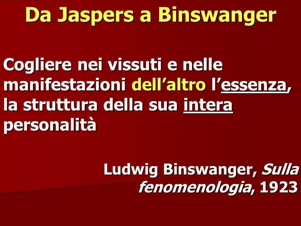 Da Jaspers a Binswanger Cogliere nei vissuti e nelle manifestazioni dellaltro lessenza, la struttura della sua intera personalità Ludwig Binswanger, S