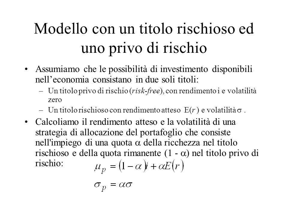 Modello con un titolo rischioso ed uno privo di rischio Assumiamo che le possibilità di investimento disponibili nelleconomia consistano in due soli t