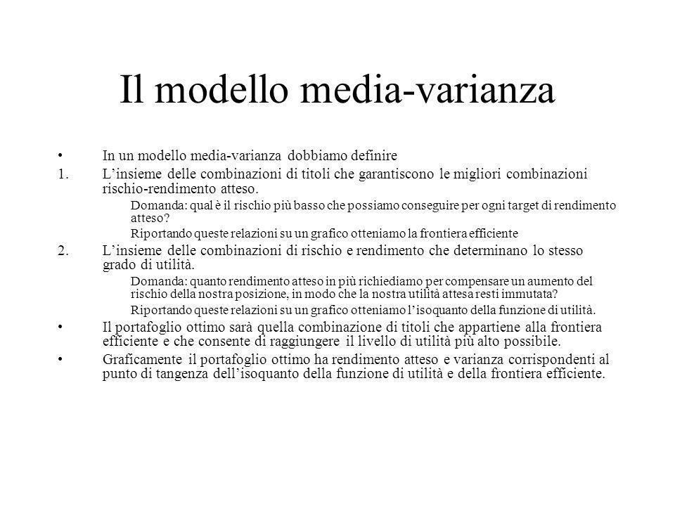 Il modello media-varianza In un modello media-varianza dobbiamo definire 1.Linsieme delle combinazioni di titoli che garantiscono le migliori combinaz
