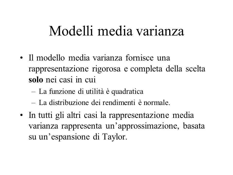 Modelli media varianza Il modello media varianza fornisce una rappresentazione rigorosa e completa della scelta solo nei casi in cui –La funzione di u