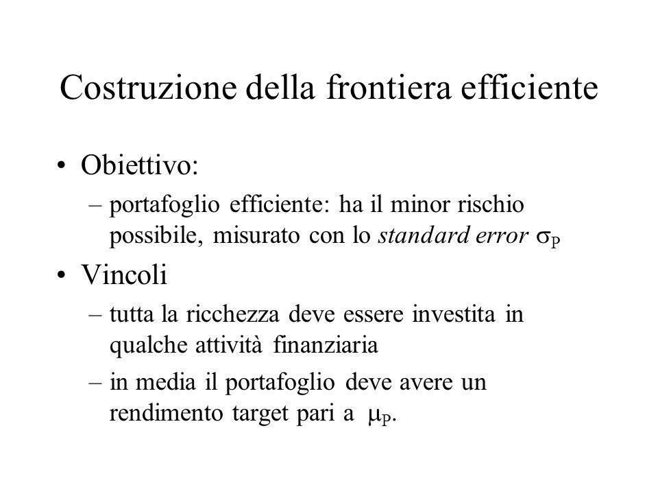 Costruzione della frontiera efficiente Obiettivo: –portafoglio efficiente: ha il minor rischio possibile, misurato con lo standard error P Vincoli –tu
