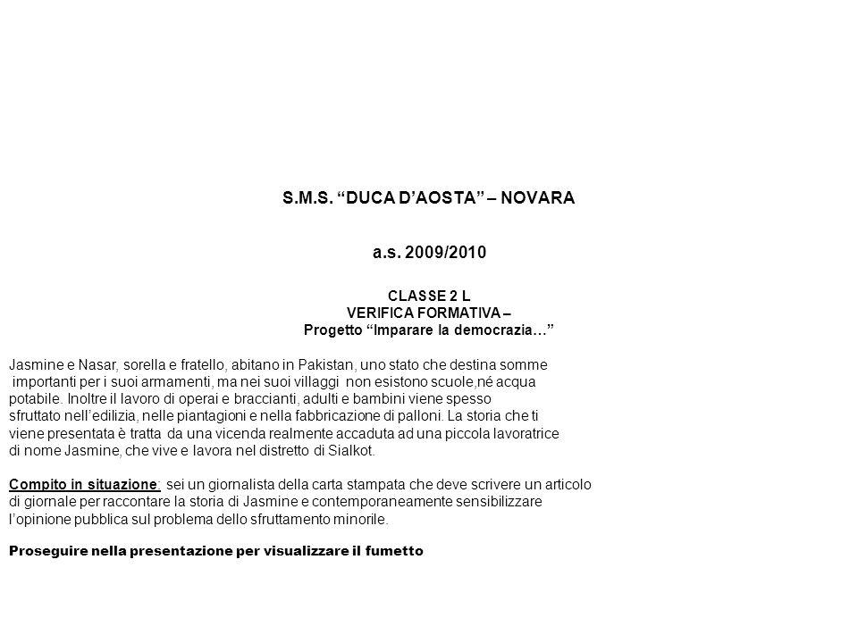 S.M.S. DUCA DAOSTA – NOVARA a.s.