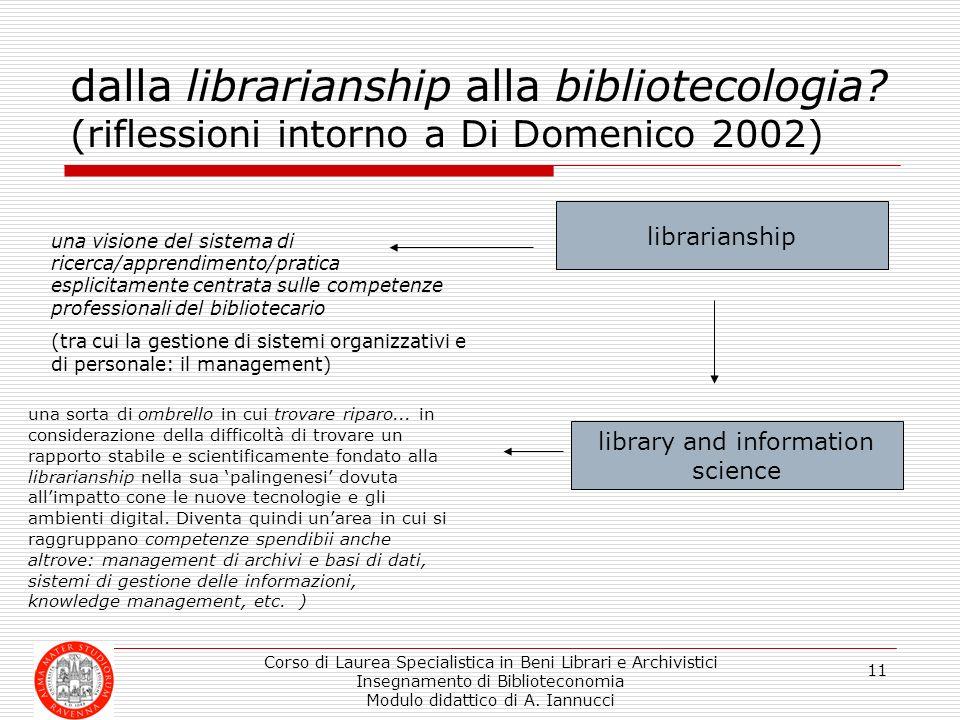 Corso di Laurea Specialistica in Beni Librari e Archivistici Insegnamento di Biblioteconomia Modulo didattico di A. Iannucci 11 dalla librarianship al
