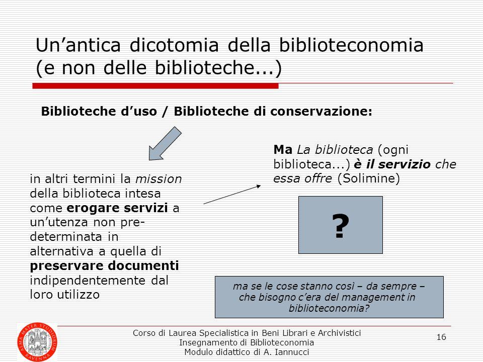 Corso di Laurea Specialistica in Beni Librari e Archivistici Insegnamento di Biblioteconomia Modulo didattico di A. Iannucci 16 Unantica dicotomia del