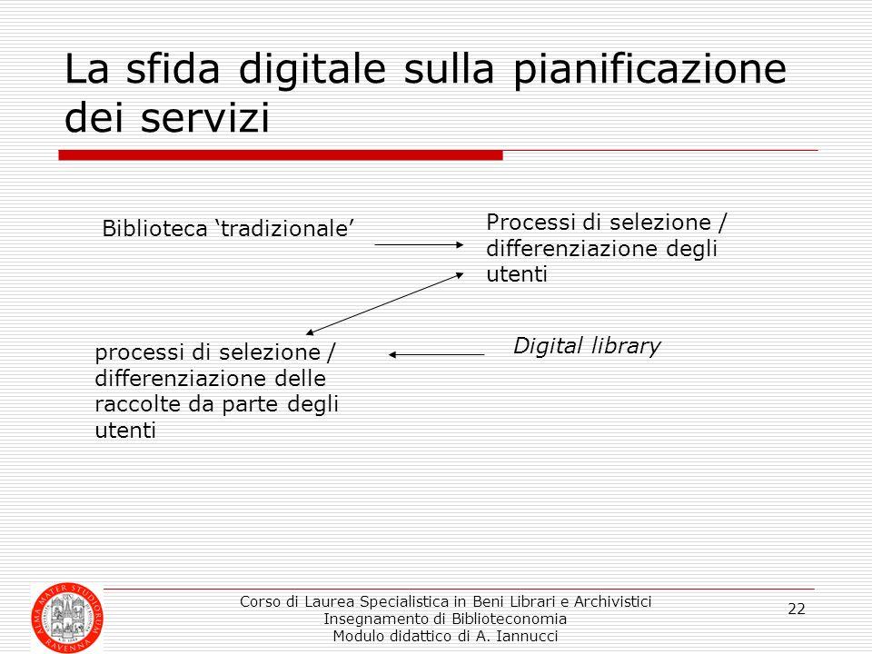 Corso di Laurea Specialistica in Beni Librari e Archivistici Insegnamento di Biblioteconomia Modulo didattico di A. Iannucci 22 La sfida digitale sull