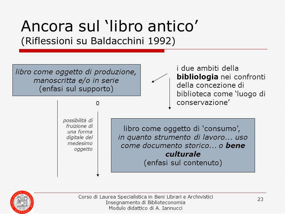 Corso di Laurea Specialistica in Beni Librari e Archivistici Insegnamento di Biblioteconomia Modulo didattico di A. Iannucci 23 Ancora sul libro antic