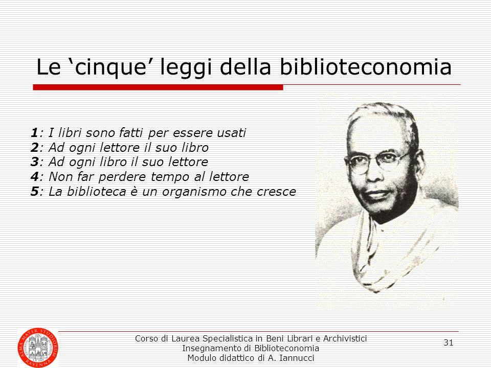 Corso di Laurea Specialistica in Beni Librari e Archivistici Insegnamento di Biblioteconomia Modulo didattico di A. Iannucci 31 Le cinque leggi della