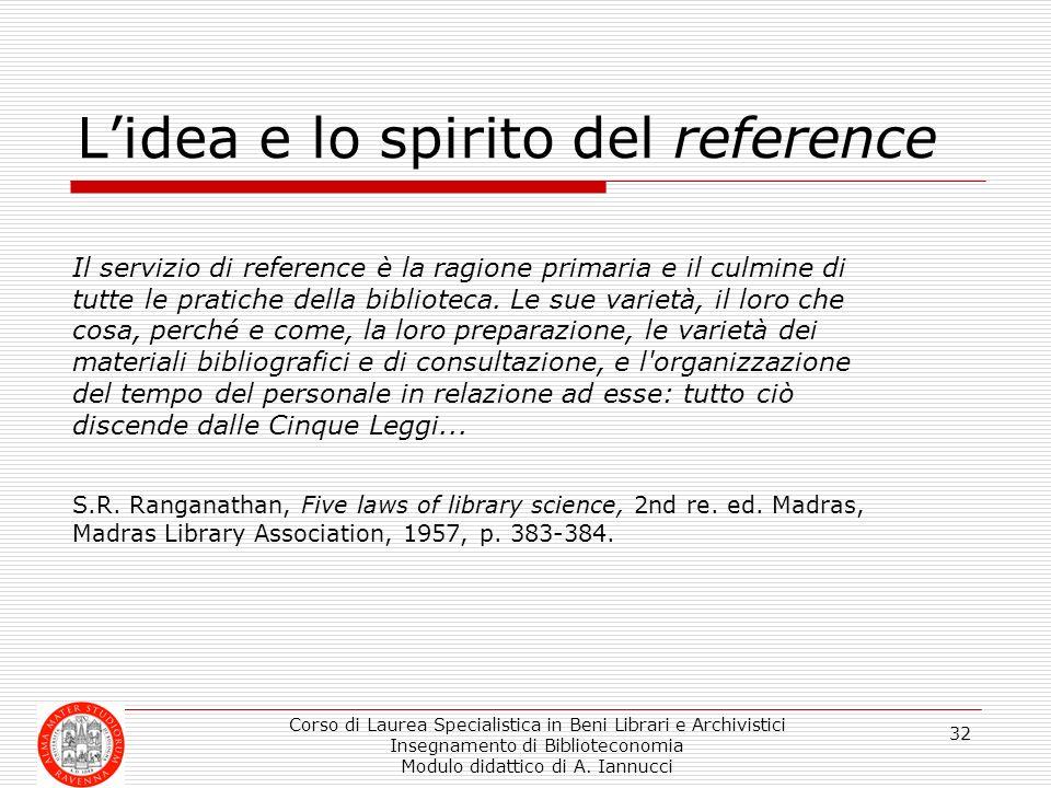 Corso di Laurea Specialistica in Beni Librari e Archivistici Insegnamento di Biblioteconomia Modulo didattico di A. Iannucci 32 Lidea e lo spirito del