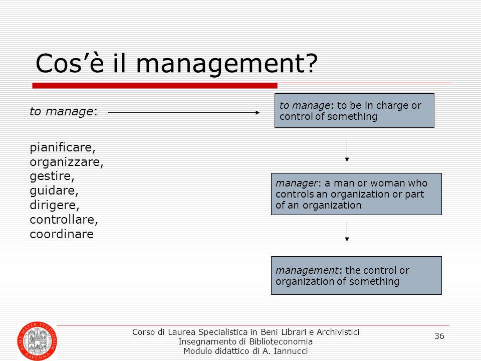 Corso di Laurea Specialistica in Beni Librari e Archivistici Insegnamento di Biblioteconomia Modulo didattico di A. Iannucci 36 Cosè il management? to