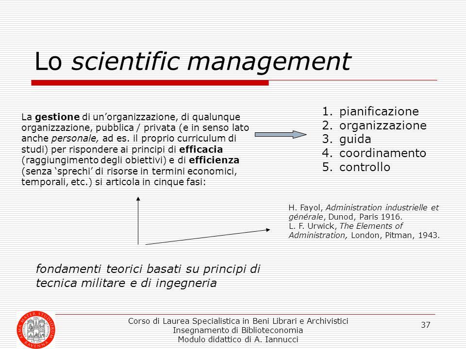 Corso di Laurea Specialistica in Beni Librari e Archivistici Insegnamento di Biblioteconomia Modulo didattico di A. Iannucci 37 Lo scientific manageme