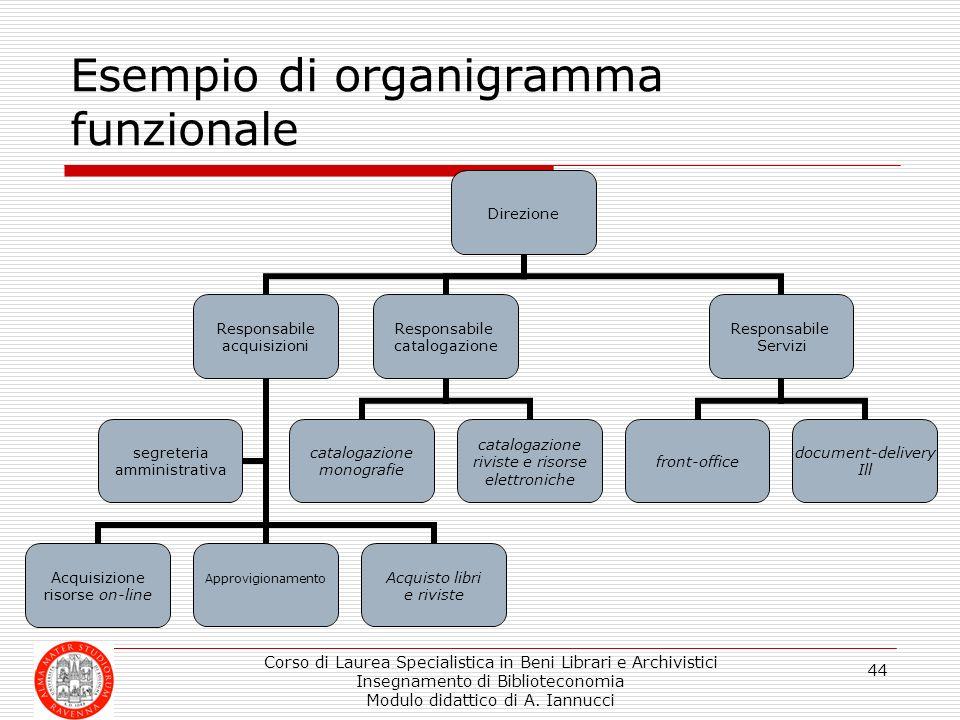 Corso di Laurea Specialistica in Beni Librari e Archivistici Insegnamento di Biblioteconomia Modulo didattico di A. Iannucci 44 Direzione Responsabile