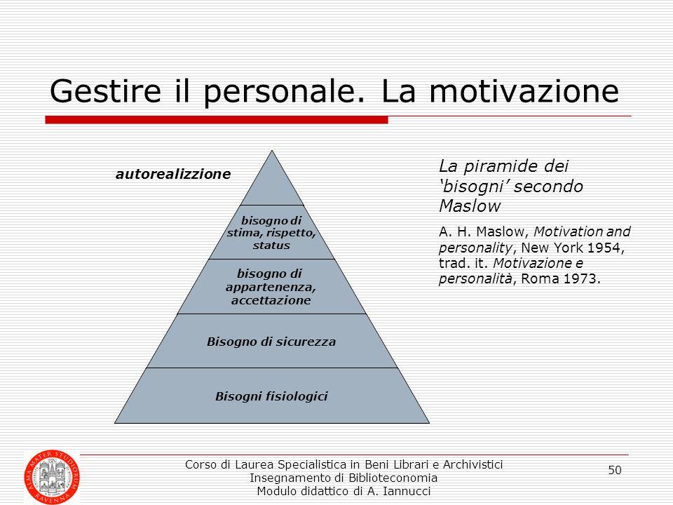 Corso di Laurea Specialistica in Beni Librari e Archivistici Insegnamento di Biblioteconomia Modulo didattico di A. Iannucci 50 Gestire il personale.