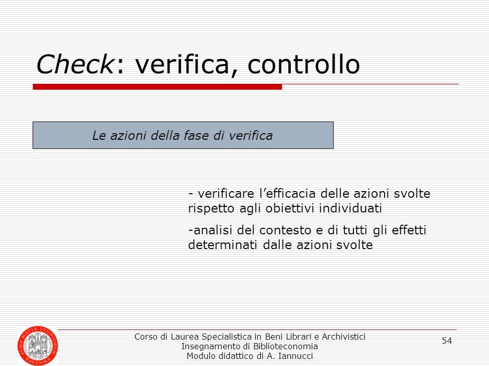 Corso di Laurea Specialistica in Beni Librari e Archivistici Insegnamento di Biblioteconomia Modulo didattico di A. Iannucci 54 Check: verifica, contr