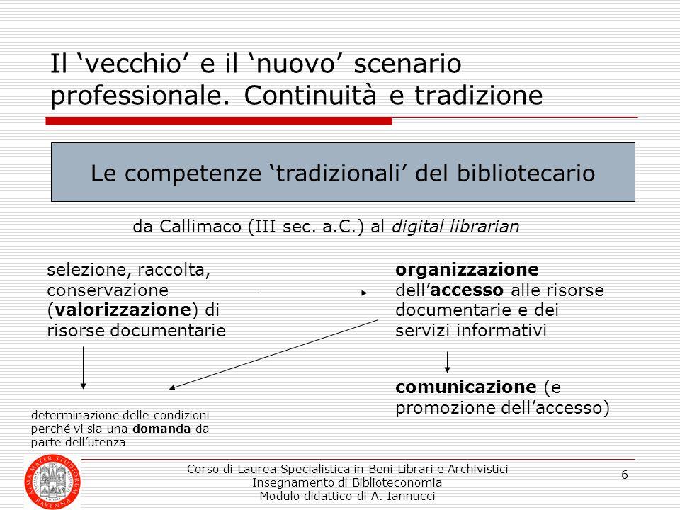 Corso di Laurea Specialistica in Beni Librari e Archivistici Insegnamento di Biblioteconomia Modulo didattico di A. Iannucci 6 Il vecchio e il nuovo s