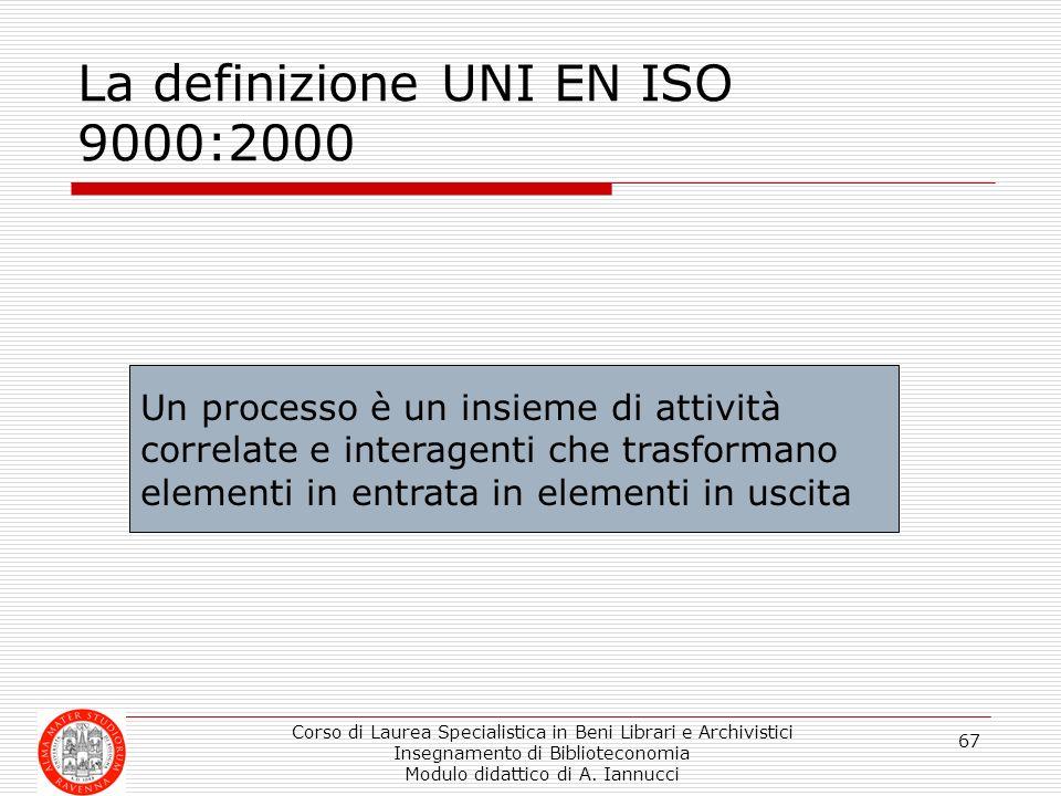 Corso di Laurea Specialistica in Beni Librari e Archivistici Insegnamento di Biblioteconomia Modulo didattico di A. Iannucci 67 La definizione UNI EN