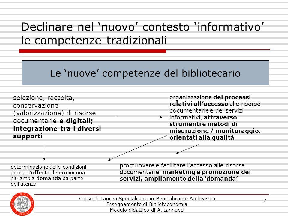 Corso di Laurea Specialistica in Beni Librari e Archivistici Insegnamento di Biblioteconomia Modulo didattico di A. Iannucci 7 Declinare nel nuovo con