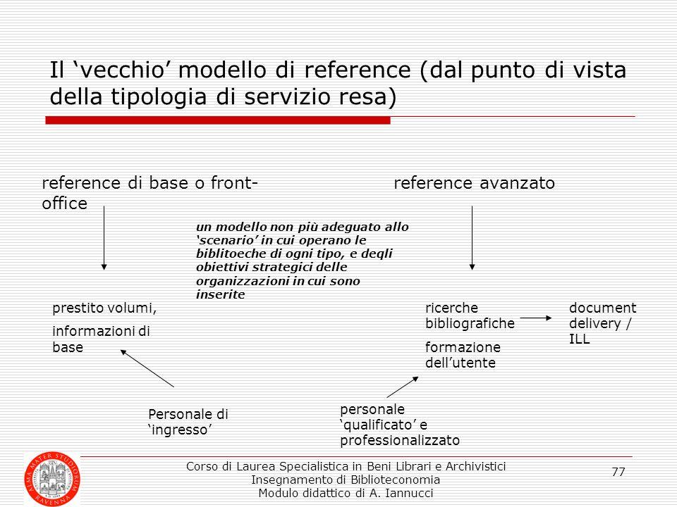 Corso di Laurea Specialistica in Beni Librari e Archivistici Insegnamento di Biblioteconomia Modulo didattico di A. Iannucci 77 Il vecchio modello di