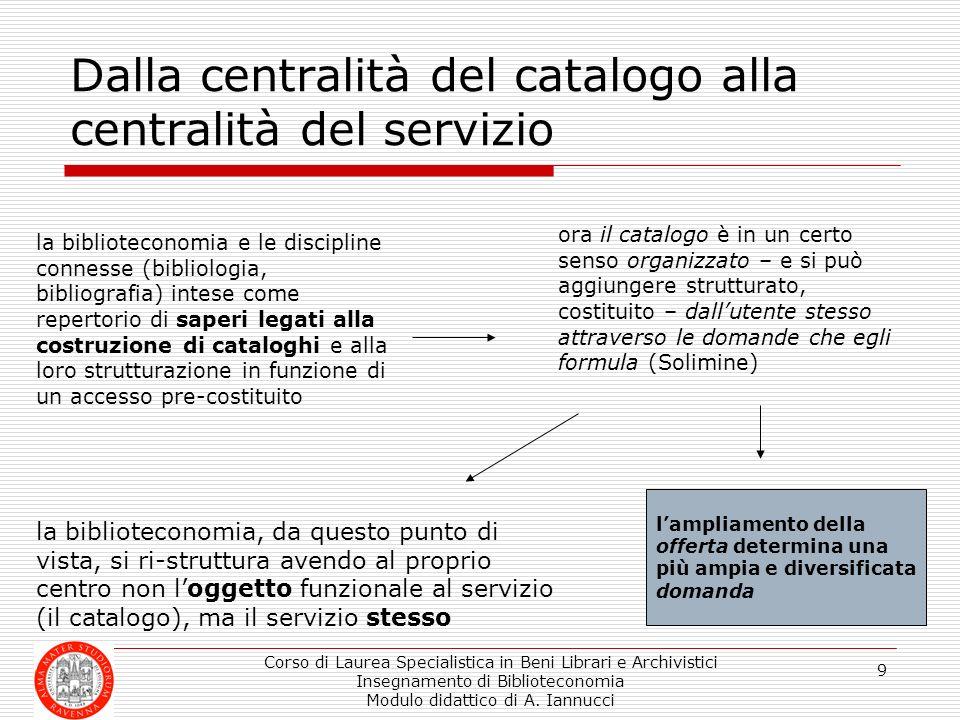 Corso di Laurea Specialistica in Beni Librari e Archivistici Insegnamento di Biblioteconomia Modulo didattico di A. Iannucci 9 Dalla centralità del ca