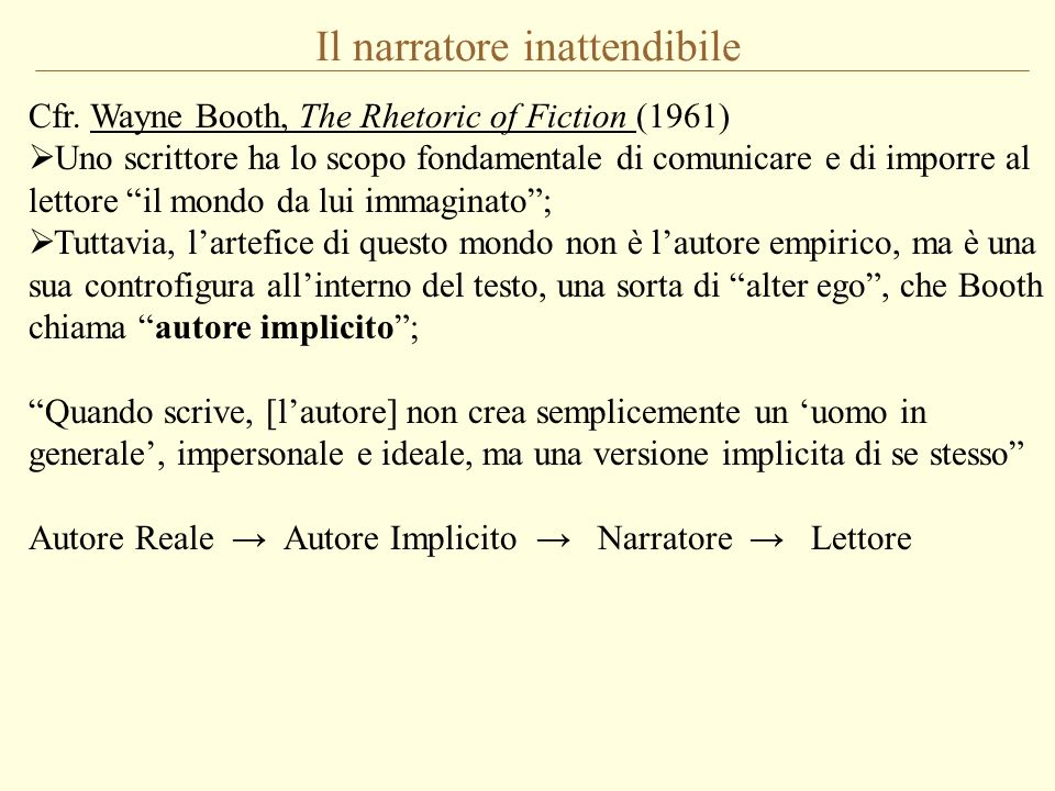 Il narratore inattendibile Cfr. Wayne Booth, The Rhetoric of Fiction (1961) Uno scrittore ha lo scopo fondamentale di comunicare e di imporre al letto