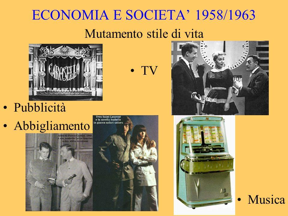 ECONOMIA E SOCIETA 1958/1963 Mutamento stile di vita TV Pubblicità Abbigliamento Musica