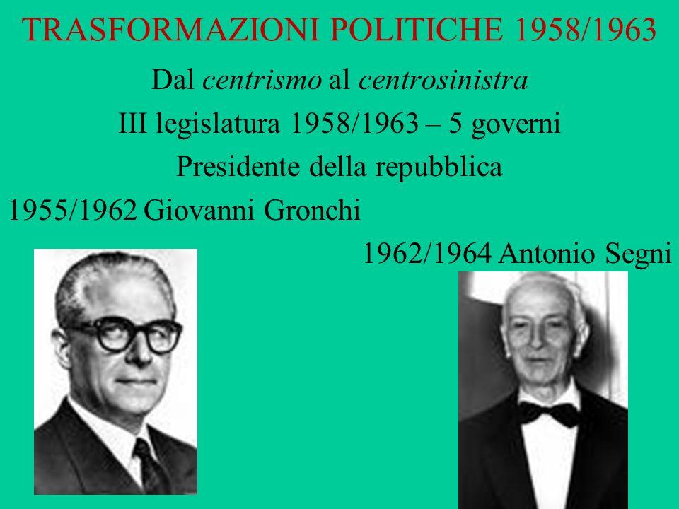 Dal centrismo al centrosinistra III legislatura 1958/1963 – 5 governi Presidente della repubblica 1955/1962 Giovanni Gronchi 1962/1964 Antonio Segni T