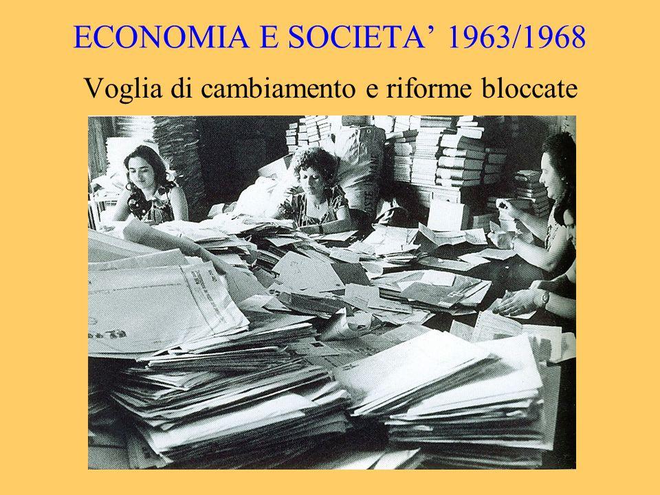 ECONOMIA E SOCIETA 1963/1968 Voglia di cambiamento e riforme bloccate