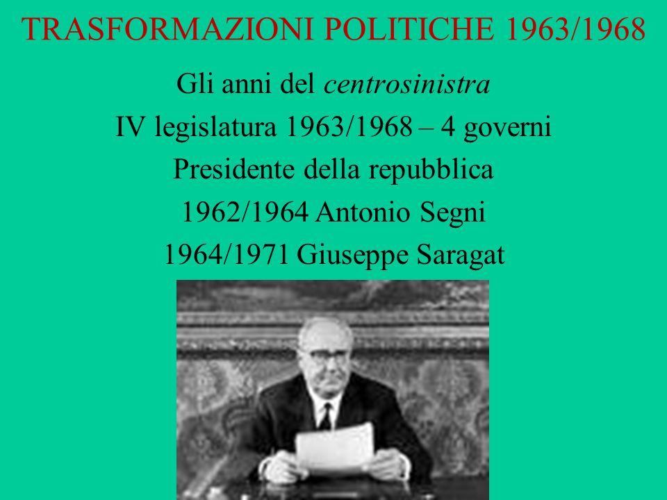 TRASFORMAZIONI POLITICHE 1963/1968 Gli anni del centrosinistra IV legislatura 1963/1968 – 4 governi Presidente della repubblica 1962/1964 Antonio Segn