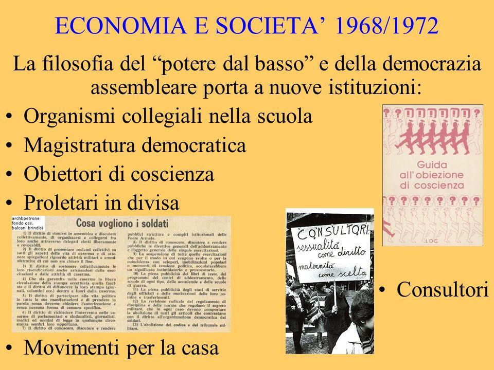 ECONOMIA E SOCIETA 1968/1972 La filosofia del potere dal basso e della democrazia assembleare porta a nuove istituzioni: Organismi collegiali nella sc