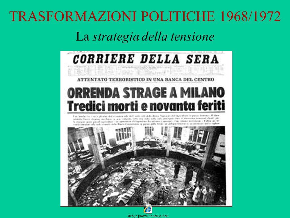TRASFORMAZIONI POLITICHE 1968/1972 La strategia della tensione