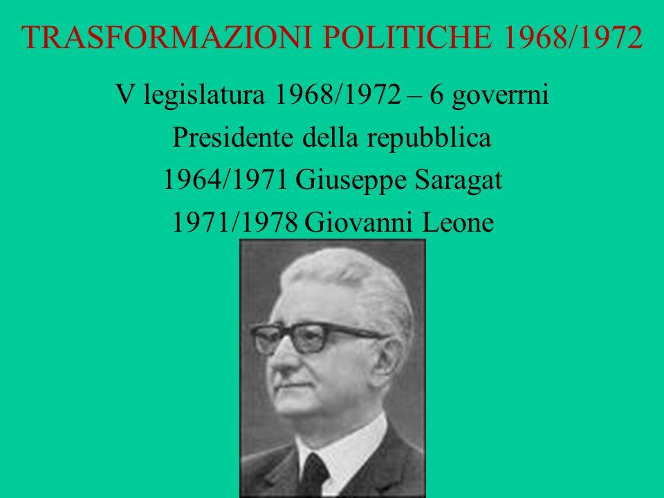TRASFORMAZIONI POLITICHE 1968/1972 V legislatura 1968/1972 – 6 goverrni Presidente della repubblica 1964/1971 Giuseppe Saragat 1971/1978 Giovanni Leon