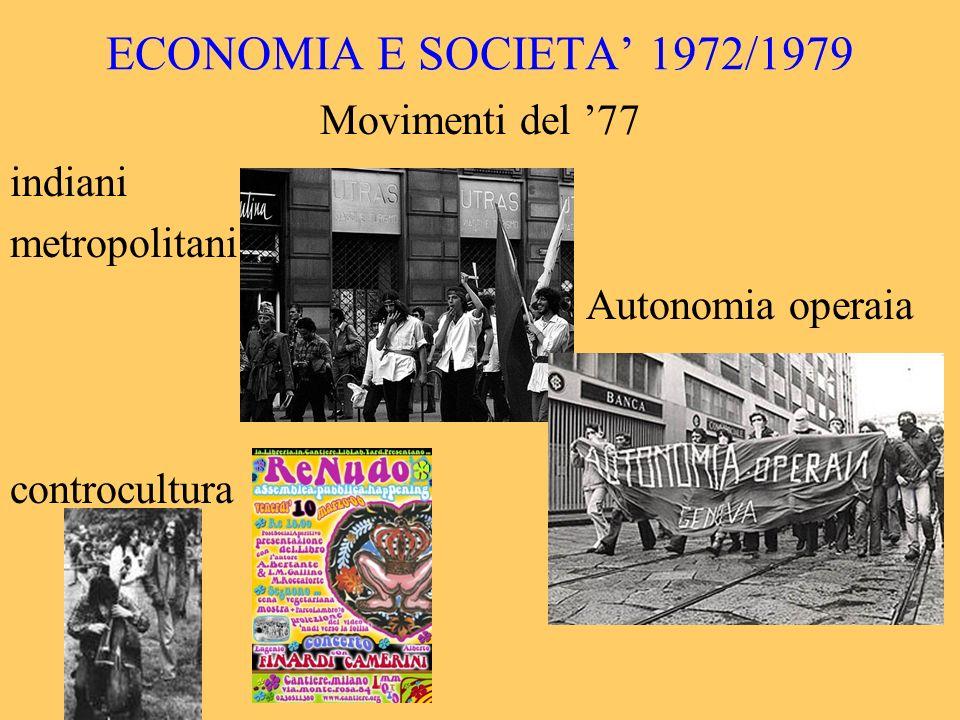 ECONOMIA E SOCIETA 1972/1979 Movimenti del 77 indiani metropolitani Autonomia operaia controcultura