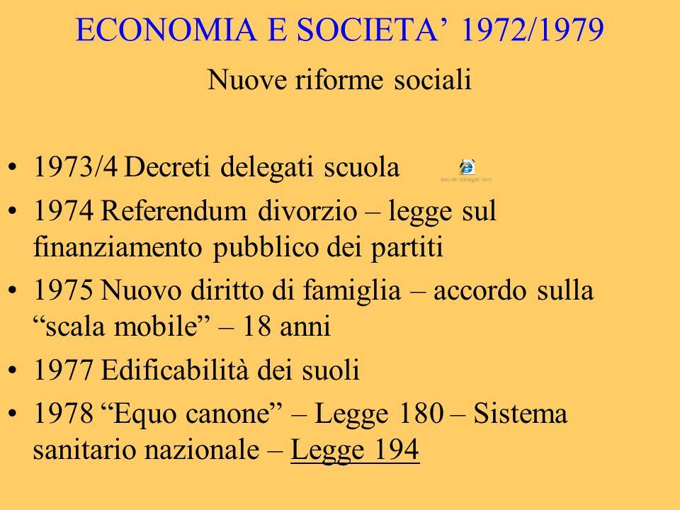 ECONOMIA E SOCIETA 1972/1979 Nuove riforme sociali 1973/4 Decreti delegati scuola 1974 Referendum divorzio – legge sul finanziamento pubblico dei part
