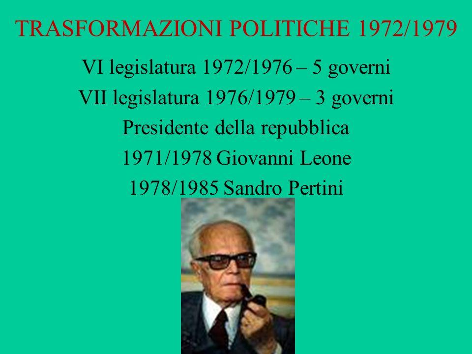 TRASFORMAZIONI POLITICHE 1972/1979 VI legislatura 1972/1976 – 5 governi VII legislatura 1976/1979 – 3 governi Presidente della repubblica 1971/1978 Gi