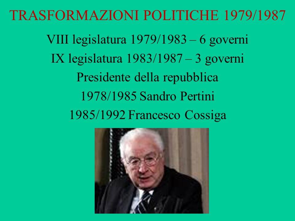 TRASFORMAZIONI POLITICHE 1979/1987 VIII legislatura 1979/1983 – 6 governi IX legislatura 1983/1987 – 3 governi Presidente della repubblica 1978/1985 S
