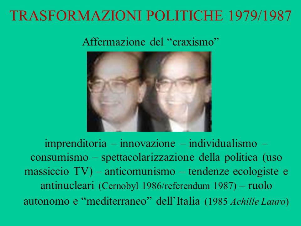 TRASFORMAZIONI POLITICHE 1979/1987 Affermazione del craxismo imprenditoria – innovazione – individualismo – consumismo – spettacolarizzazione della po