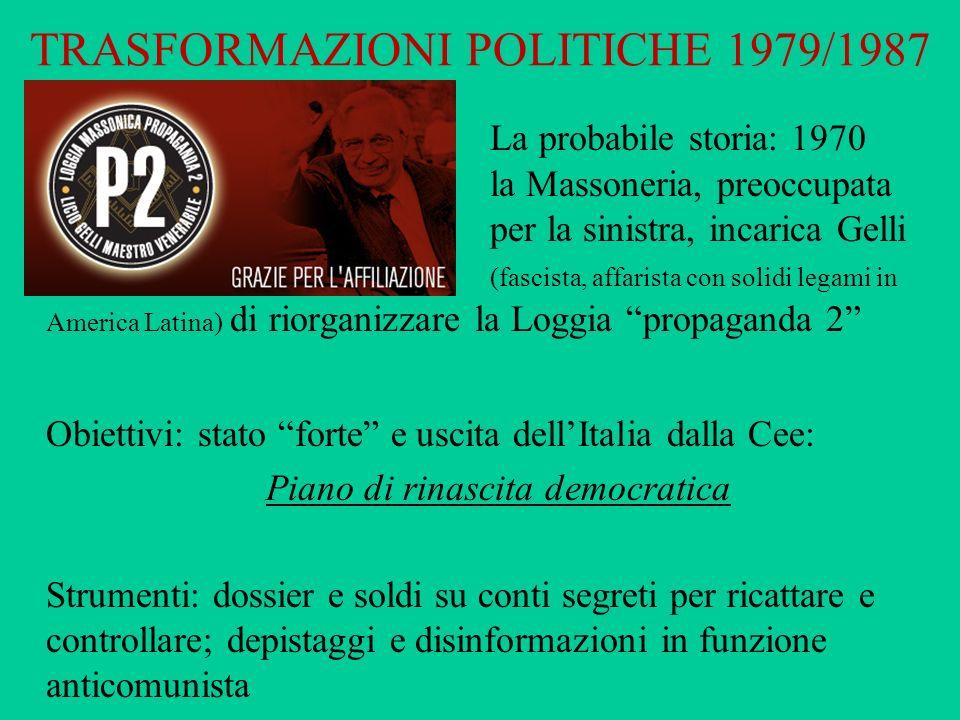 TRASFORMAZIONI POLITICHE 1979/1987 La probabile storia: 1970 la Massoneria, preoccupata per la sinistra, incarica Gelli (fascista, affarista con solid