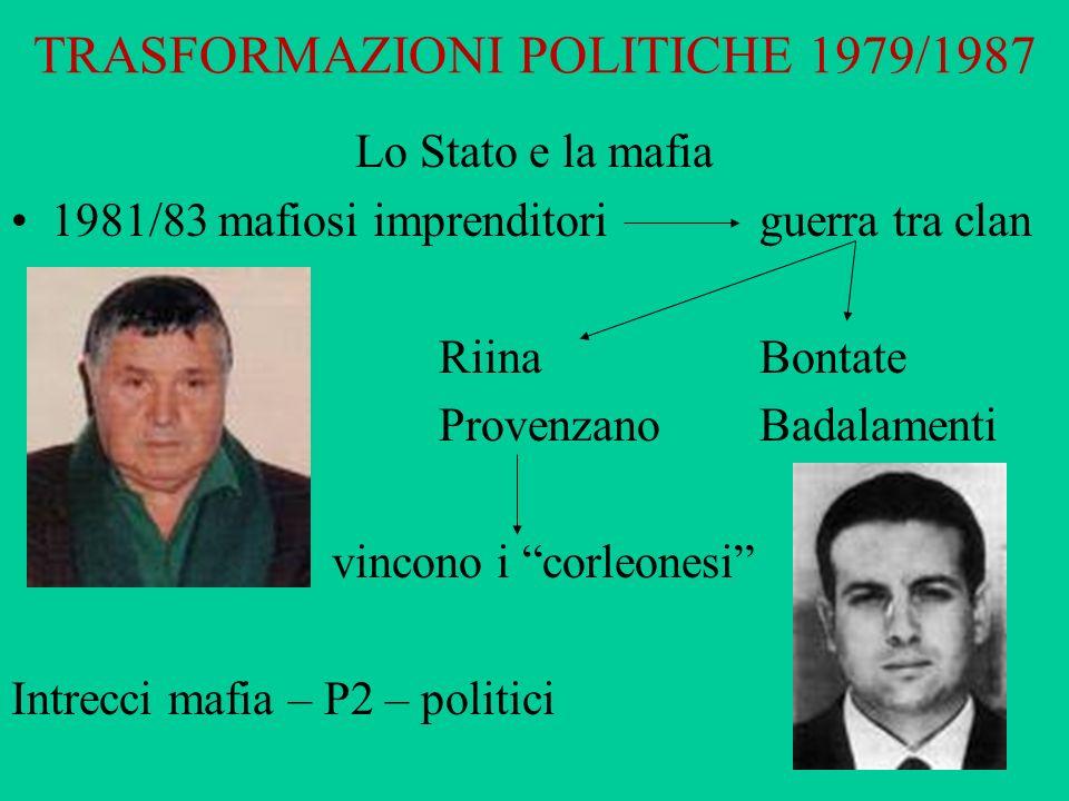 TRASFORMAZIONI POLITICHE 1979/1987 Lo Stato e la mafia 1981/83 mafiosi imprenditoriguerra tra clan Riina Bontate ProvenzanoBadalamenti vincono i corle