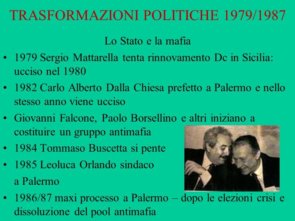 TRASFORMAZIONI POLITICHE 1979/1987 Lo Stato e la mafia 1979 Sergio Mattarella tenta rinnovamento Dc in Sicilia: ucciso nel 1980 1982 Carlo Alberto Dal